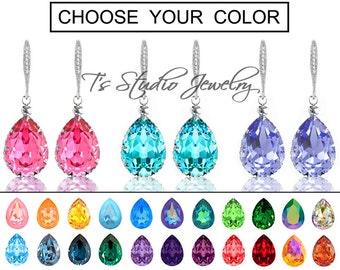 "CHOOSE YOUR COLOR Pear Shaped Crystal Bridesmaid Earrings - ""Mia"" - Silver"