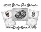 Tattoo Art Calendar 2016 Zindy Chicano Day of the dead Skull Girls Love Emo