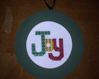 Joy Cross Stitch Ornament
