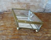 Vintage Glass and Gold Jewelry Or Trinket Box