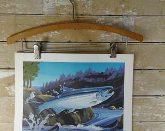 Vintage J Whalers Print Jumping Salmon