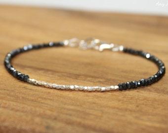 Mystic Black Spinel Bracelet, Hill Tribe Silver Beads, Mystic Black Spinel Jewelry, Gemtone Bracelet