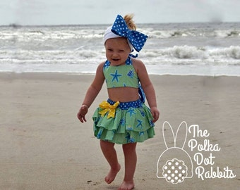 Baby-Toddler Retro Style Star Fish Swim and Beach Set, Bloomer with Attached Double Ruffle Skirt and Bikini Top, sizes 3 month through 6
