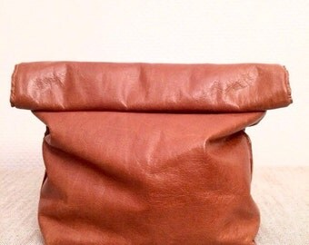 Brown Genuine Leather Clutch