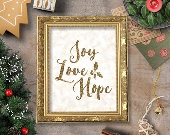 Joy Love Hope Christmas Quote Gold Glitter Bokeh Wall Art Printable- 8x10 - Instant Download Holidays Winter December Snow Home Decor