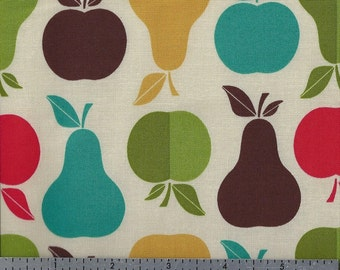 Cotton Fabric - Apples and Pears - Retro Fruit - by the Yard