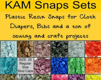 KAM Plastic Resins SNAPS - 100 Snap Sets - Size 20 - Choose Your Color