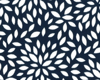 Cotton Fabric - Floral Burst, Navy and White - By the YARD