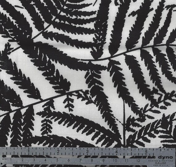Cotton Fabric -  Black and White FERN Print - by the Yard