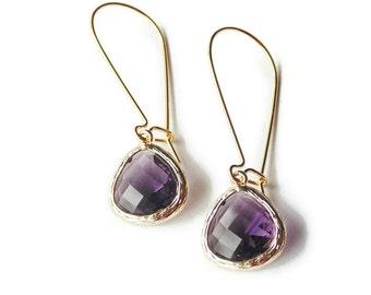 Purple earrings Bridesmaid earring Purple dangle earrings Drop earring Amethyst earrings Dangle earrings Bridal earring Tear drop earring