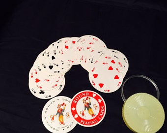 Vintage Souvenir Round Playing Cards Complete With Jokers Bahama Islands 1970s