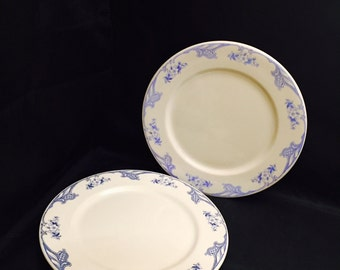 Shenango China Restaurant Ware Dinner Plates, Blue And White Floral, Rimrol Bottoms, Two Plates, Incaware