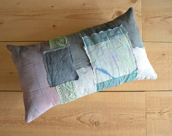 grey sage rustic patchwork lumbar pillow cover - hand dyed cushion cover - shabby home patchwork pillow with doilies and trims