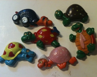 Set of 6 Whimsical Turtle Magnets