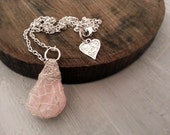 Rose Quartz Necklace, Crystal Necklace Teardrop Stone, Natural Jewelry Simple Rustic Style