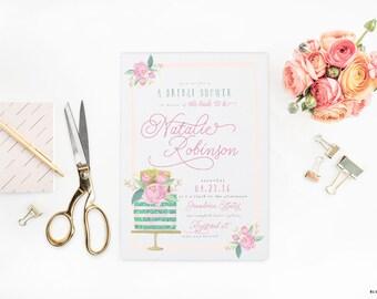 "Blue Bridal Shower Floral Invitations - WaterColor Cake Printable JPEG Wedding Shower Invitation - 5""x7"" Bridal Shower Invites with Glitter"