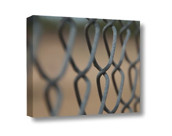Small Canvas Wall Art Decor Chain Link Fence