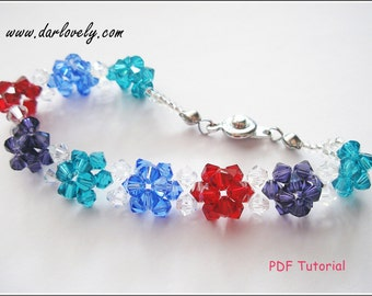 Beaded Bracelet Tutorial Pattern - Puffy Flower Bracelet (BB082) - Beading Jewelry PDF Tutorial (Instant Download)