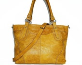 "Distressed Yellow Leather Tote Bag Handbag - Leather Cross-body Bag - Large Leather Laptop Bag Nora BIS L fits a 15"" laptop"