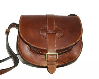 Genuine Leather Saddle Bag // Cross body bag // Messenger Goldmann S in vintage tan