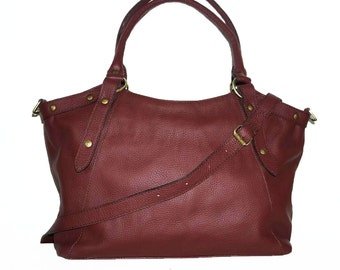 Cherry Red Leather Bag Handbag Tote // Shoulder Cross Body Bag Elsa