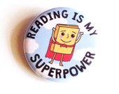 Book Pinback Buttons Reading Superpower Superhero Geeky Accessories Librarian Badges Pins