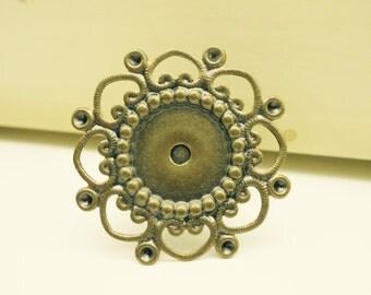 6 x Antique Bronze Tone - Filigree Adjustable Ring - Ring Blanks 12mm
