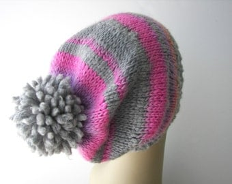 Unique SOFT WOOL Hand Knit Pom Pom Beanie Ski Hat in Grey Rose / Merino Wool Knit Hat / Ready to ship Unique Gift