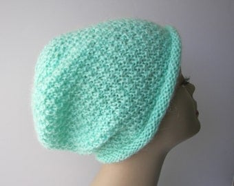 Sea Breeze: LUXE Beanie Hat in Belgium Lovely Mohair Acrylic yarn / Luxurious Seed pattern Knit Hat / Ready to ship