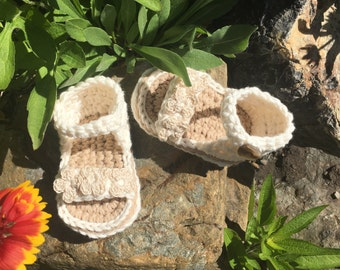 Crochet PDF Pattern: Baby Roman Sandal, 2 sizes, 0-9 months, 9-months to 18 months, flip flop, baby shoe, flower strap.
