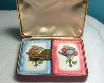 Faux Leather Covered Metal Card Case Satin Lined Like New, Contains 2 Sealed Stamped Packs Set Pink Blue Floral Pinochle Playing Cards
