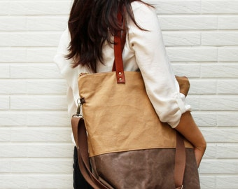 Tote bag with Genuine Leather strap-zipper closer with shoulder strap