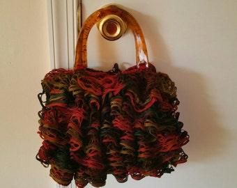 Ruffled Hand Bag - Red, Black, Brown, Green