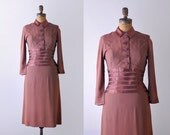 40's dress. crepe. M. 1940 dusted rose dress. pink brown. satin collared dress. vintage.