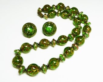 Green Venetian Glass Beaded Necklace - Green and Gold Beads Matching Choker & Earrings Signed Italy - Vintage 1940's Mid Century Set