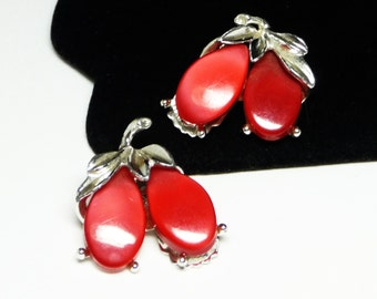 Cherry Red Lucite Earrings with Silvertone Leaves - Vintage Mid Century Clip on Style