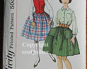 RARE Vintage 50's Girl's Weskit, Blouse and Skirt, Vest Simplicity 2672 Sewing Pattern UNCUT Size 10