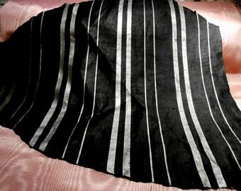 Antique Fabric Silk Black Silver Striped Victorian Dress Fabric Remnant