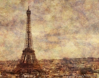 "Fine Art Monochromatic Photography of Paris - ""View Over Paris Skyline and Eiffel Tower"""