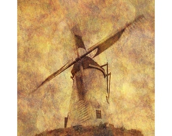 Fine Art Color Travel Photography of Windmill in the Belgium Landscape