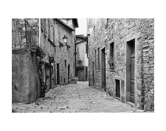 """Fine Art Black & White Photography of Hilltown in Chianti Tuscany - """"Cobblestone Lane in Chianti"""""""