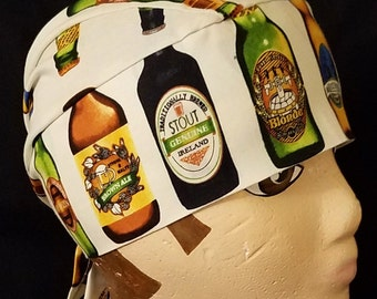 Handmade Skull Cap or Chemo Cap, Beer Bottles, Hair Loss, Motorcycle, Head Wrap, Bar, Helmet Liner, Do Rag, Hair Loss, Hats, Alopecia