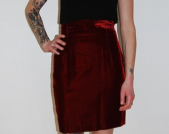 SALE vintage high waisted red velvet skirt / size x-small