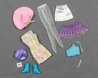 Barbie fashion clothes 8 pieces, 2 outfits and accessories, Tights, Bikini bottoms, Summer dress and hat, Skirt and halter top, boots Shawl