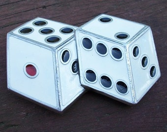 Vintage Beautiful Silver Tone Enamel Dice Belt Buckle Great American Buckle Co. Dated 1990 Numbered