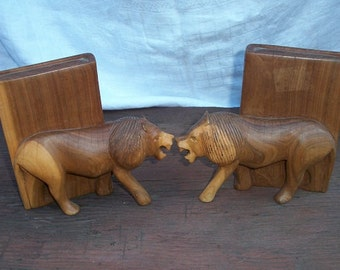Vintage Beautiful Solid Wood Carved Lion Bookends