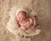 Newborn knit romper and bonnet set. Newborn overalls and matching hat. Newborn photography prop. Sea Foam, Blue, Brown, Cream. Alpaca Yarn.