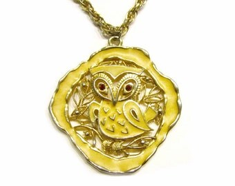 Vintage Owl Necklace Signed TTP Enamel Pendant Necklace Yellow Owl Red Rhinestone Eyes