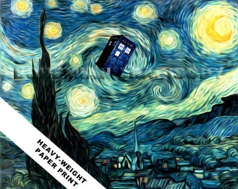 Doctor Who Van Gogh Starry Night TARDIS art print 8x10