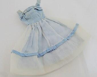 Movie Date Dress Vintage Mod Barbie Doll Mattel Clothes Accessories White Blue White Stripe Mesh
